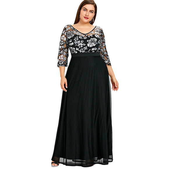 Plus Size Sequined Floral Maxi Prom Dress - black