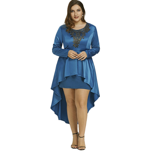 Plus Size High Low Lace Formal Dress