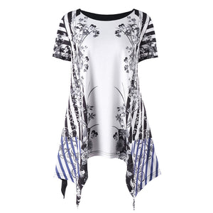 Plus Size Floral Stripe Print Short Sleeve T-shirt