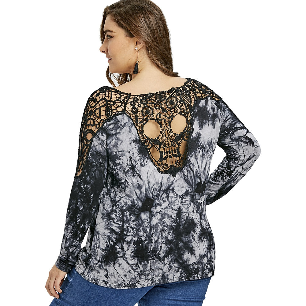 bc06c3dc14fa20 Plus Size Tie Dye Crochet Panel Cold Shoulder Top – Plusize Apparel