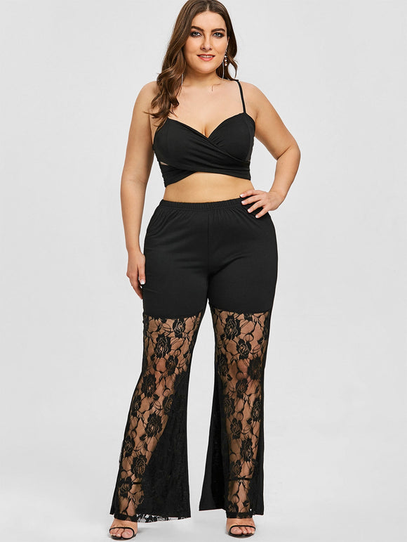 Plus Size Rose Lace Insert Flare Leggings