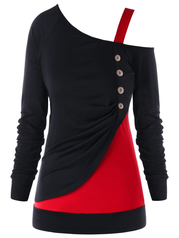 Plus Size Button Color Block One Shoulder Top - Red with Black