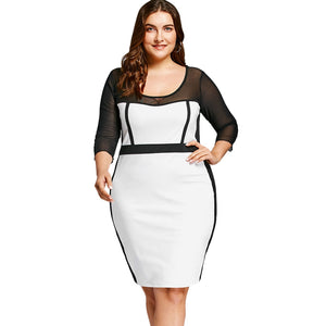 Mesh Insert Plus Size OL Bodycon Dress