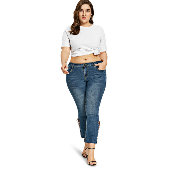 Plus Size Side Lace Up Bootcut Jeans
