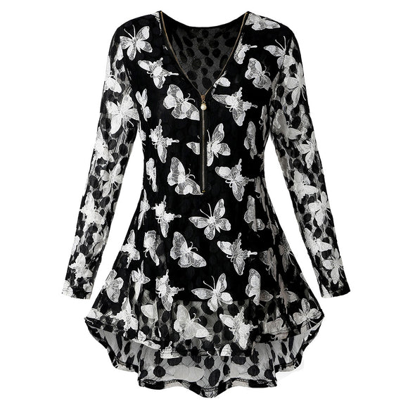 Plus Size Zipper Butterfly Pattern Lace Blouse - black