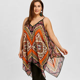 Plus Size Exotic Print Handkerchief Tank Top