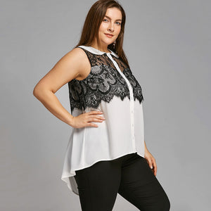 Plus Size Peter Pan Collar Sleeveless High Low Blouse