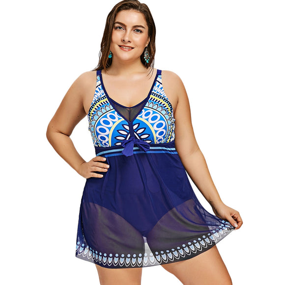 Mesh Plus Size Aztec Print Skirted Swimsuit
