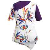 Plus Size Print Panel Asymmetric T-shirt
