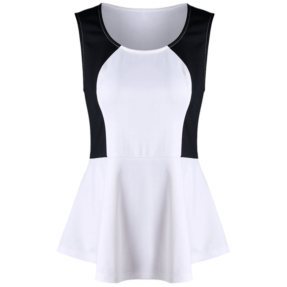 Plus Size Sleeveless Two Tone Peplum T-shirt