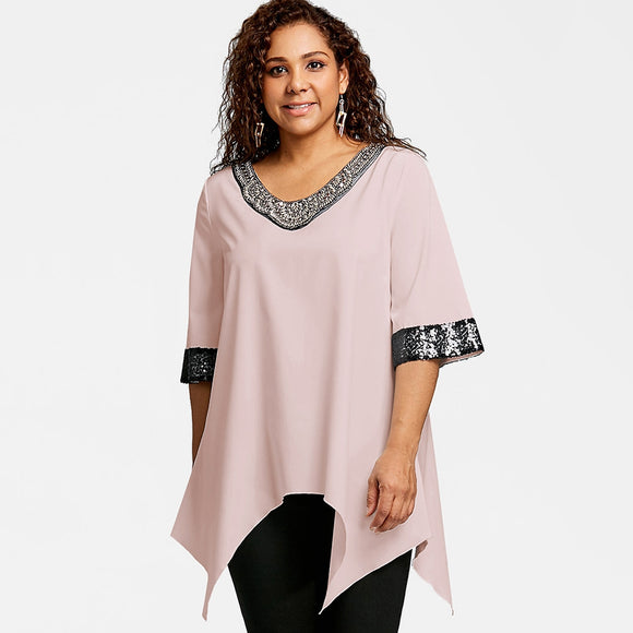 Plus Size Two Tone Sequined Blouse