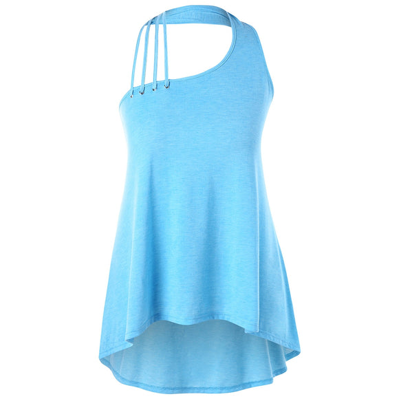 Plus Size Strappy Halter Neck Tank Top -  BLUE