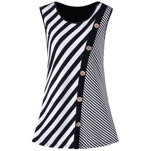 Plus Size Button Embellished Striped Tank Top