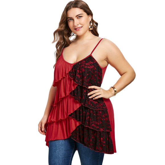Plus Size Overlap Tiered Tank Top