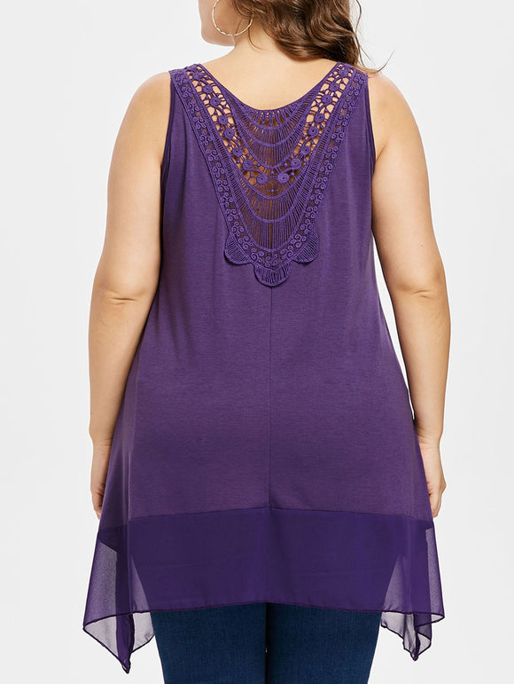 Plus Size Lace Chiffon Panel Tank Top