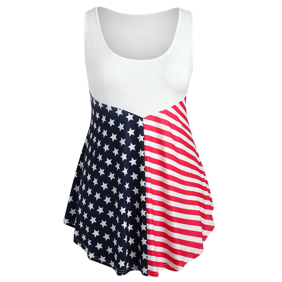 Plus Size Asymmetric Flag Print Tank Top
