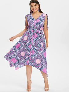 Plus Size Ethnic Print Asymmetrical Dress