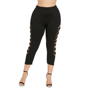 Plus Size Cut Out Sides Leggings for Women