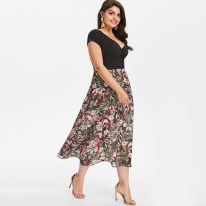 Tropical Floral Plus Size A-line Dress