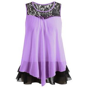 Lace Trim Plus Size Sleeveless Chiffon Blouse