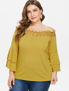 Plus Size Long Layered Bell Sleeve Blouse