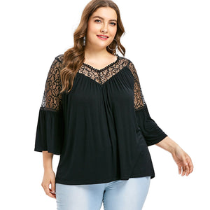 Plus Size Lace Panel Flare Sleeve T-shirt