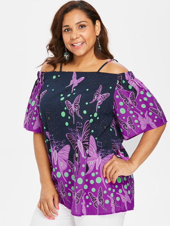 Plus Size Butterfly Pattern Cami Blouse