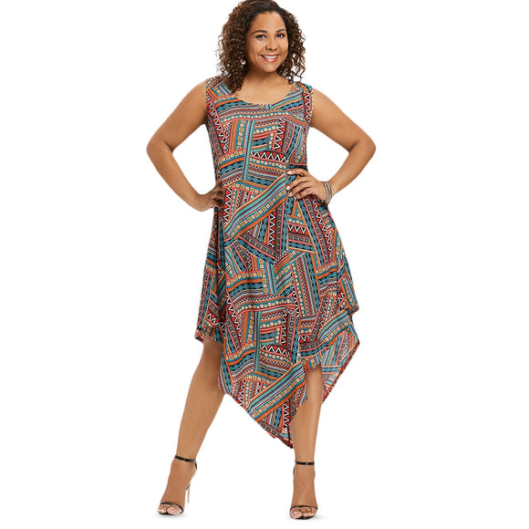 Sleeveless Plus Size Ethnic Print Asymmetrical Dress