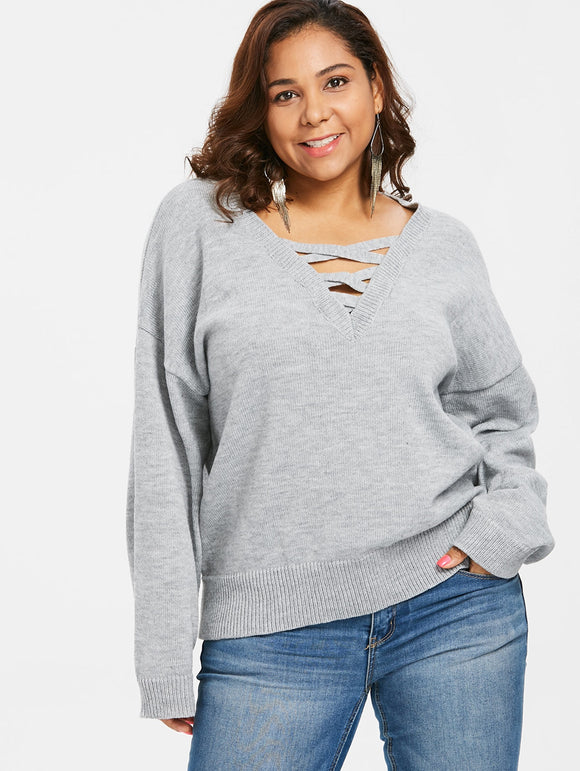 Plus Size Drop Shoulder Criss Cross Sweater