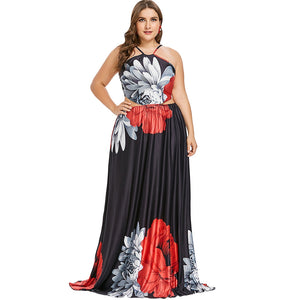 Plus Size Flower Strappy Floor Length Dress
