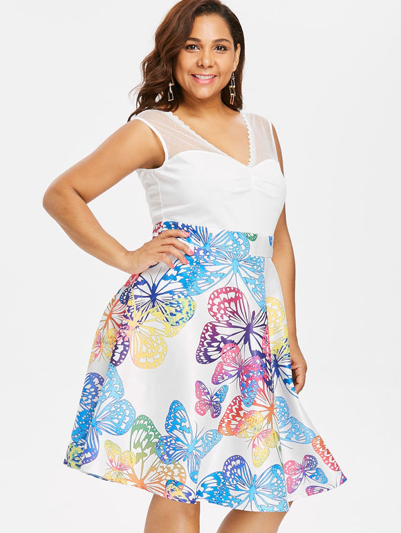 Plus Size Lace Panel Sleeveless Butterflies Dress