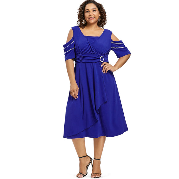 Plus Size Cold Shoulder Women Midi Dress