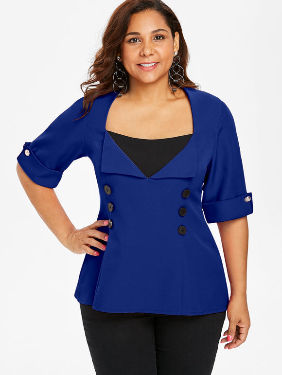 Plus Size Two Tone Dip Hem Top - blue