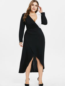 Plus Size Long Sleeve Overlap Dress