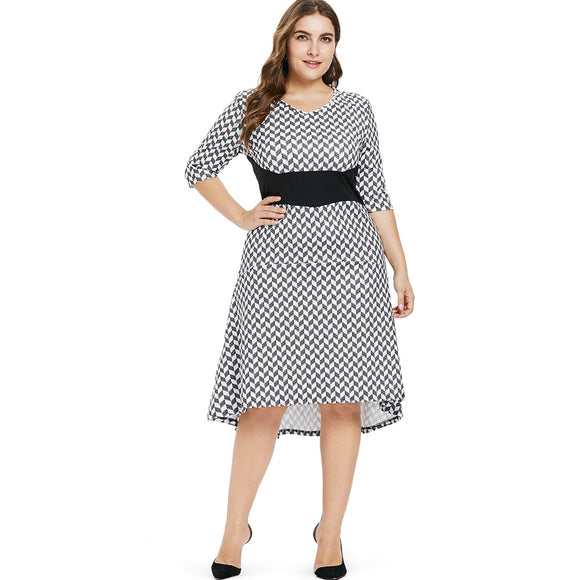 Plus Size Casual High Low Dress