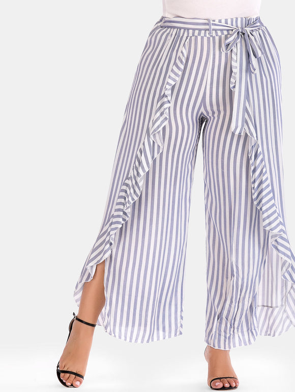 Plus Size Striped Ruffle Wide Leg Pants