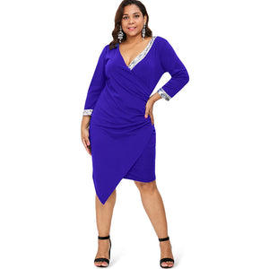 Sequin Embellished Plus Size Asymmetrical Dress