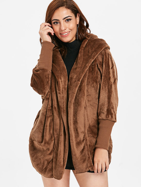 Plus Size Faux Fur Hooded Coat