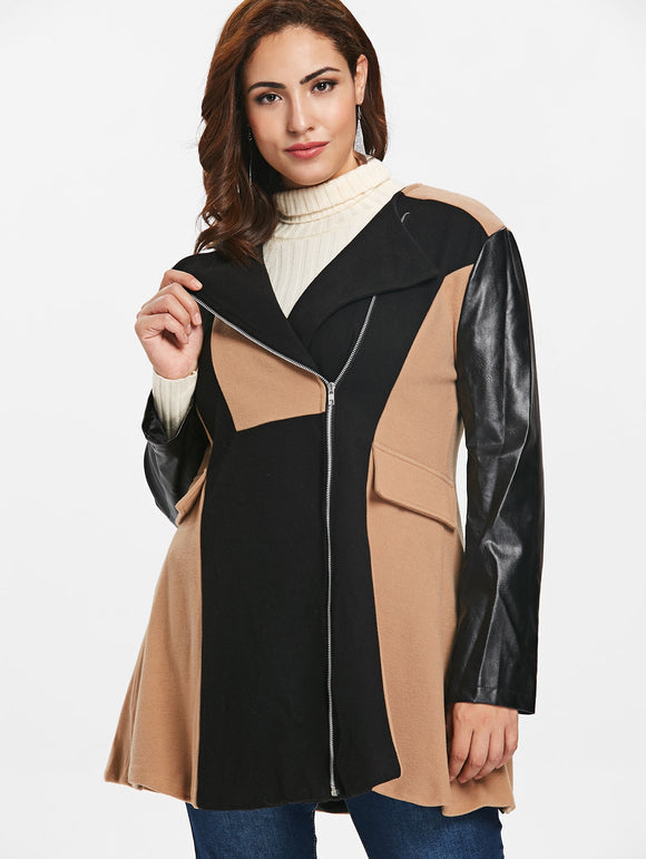 Plus Size Two Tone Zip Coat