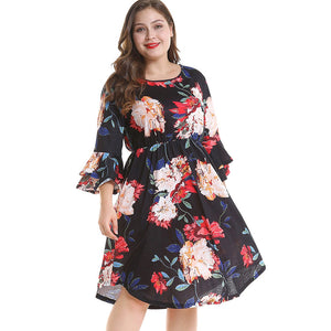 Plus Size Bell Sleeve Floral Print Dress
