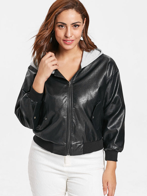 Plus Size Front Pockets Hooded Jacket
