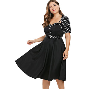 Plus Size Polka Dot Belt Vintage Dress