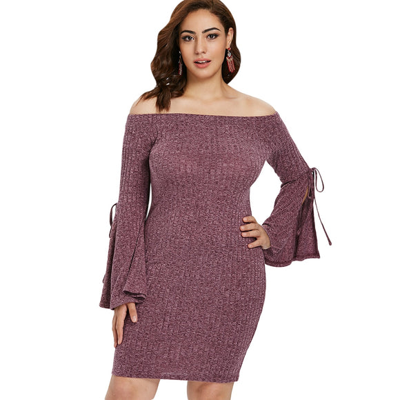 Plus Size Tied Flare Sleeve Bodycon Dress