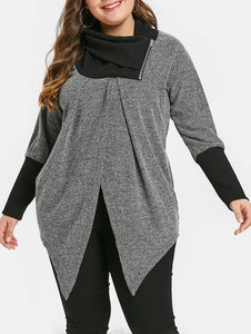 Plus Size Two Tone Zip Turtle Neck Top