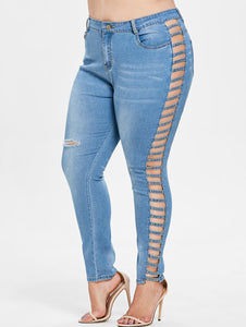 Plus Size Lattice Zipper Jeans