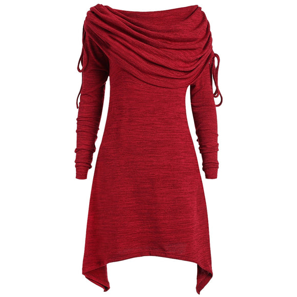 Women Dress Sexy Drawstring Off Shoulder Casual Style Plus Size Dress - red wine