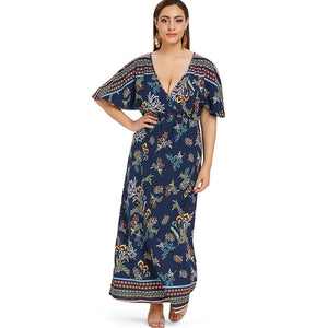 Plus Size Plunge Floral Maxi Surplice Dress