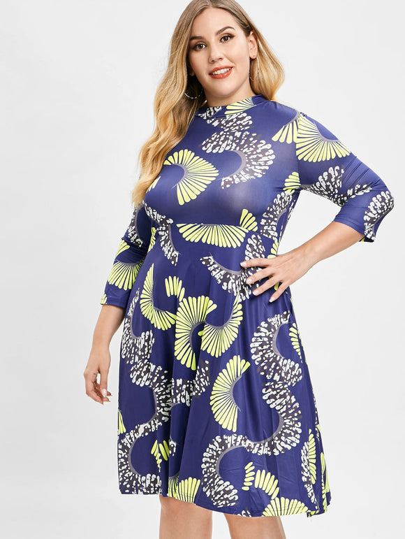 Plus Size Printed Swing Dress