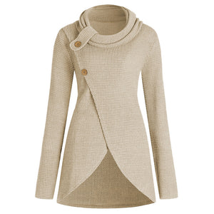 Cowl Neck Plus Size Front Slit Sweater - beige