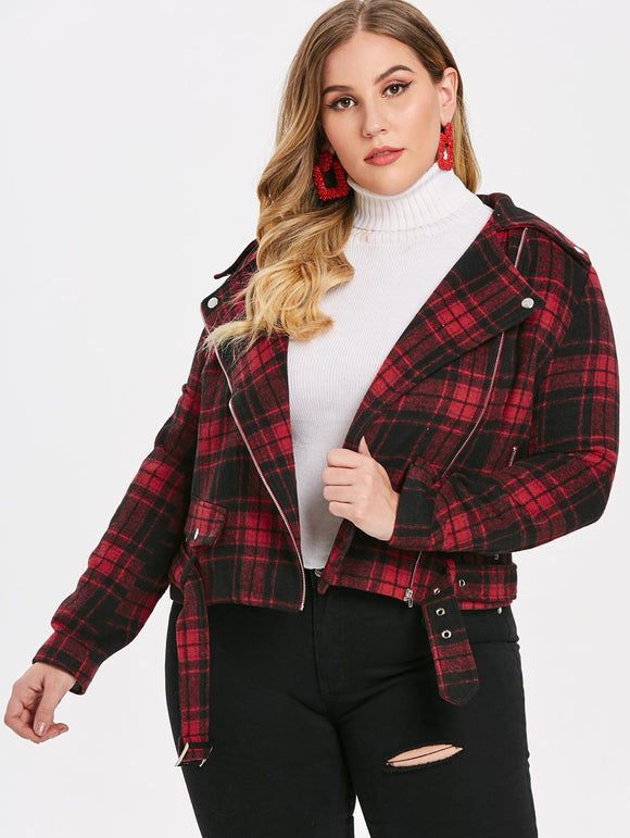 Plus Size Plaid Jacket